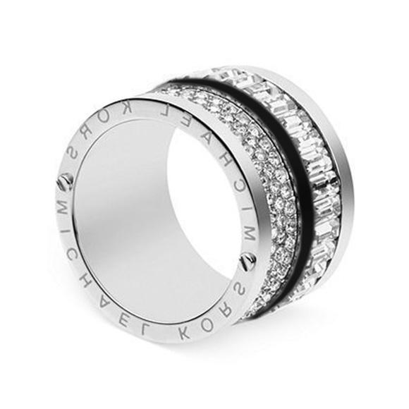 8e0616c2917e8 MICHAEL KORS Silver Tone Pave Crystal Barrel Ring
